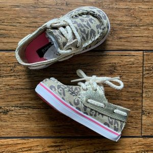 Ripped Cheetah Print Lace Up Boat Shoes